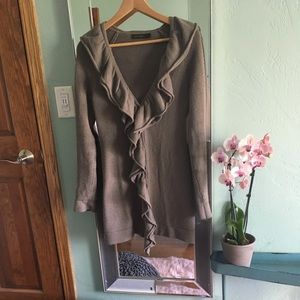 The Limited Tan Long Ruffled Open Sweater